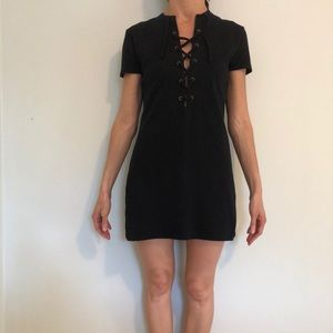 Reformation black lace up dress